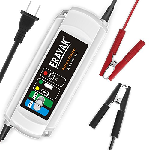 Price comparison product image ERAYAK 6V / 12V 5A Automatic Car Battery Charger Maintainer for 120Ah Lead-acid Battery, All types of ATV, lawn mower, motorcycle, automotive, marine, RV, power sport, lawn&garden, AGM, gel cell batteries-C9305
