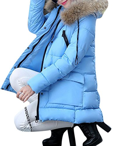 Enlishop Women's Winter Thicken Faux Fur Hooded Down Quilted Coat Jacket Blue (Faux Fur Boot Sleeve)