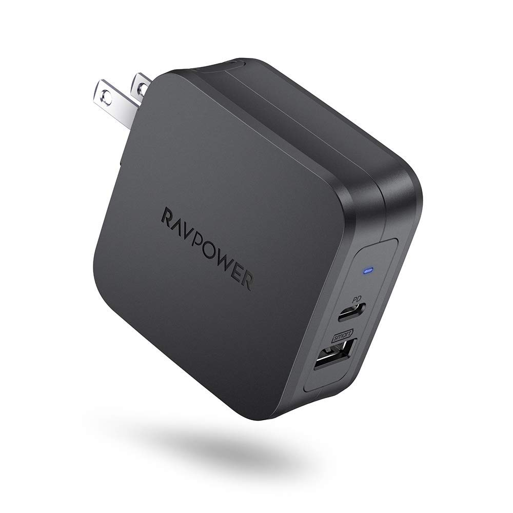 USB Wall Charger, RAVPower 61W Type C PD 3.0 Power Adapter, Dual Port USB C Wall Charger, Compatible with iPhone 11/11 Pro / 11 Pro Max, MacBook Pro Air, Dell XPS, iPad Pro 2018 and More - Black by RAVPower