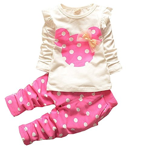 Baby Girl Clothes Infant Outfits Set 2 Pieces Cute Toddler with Long Sleeved T-Shirt Tops Pants(18-24 Months,Pink)]()
