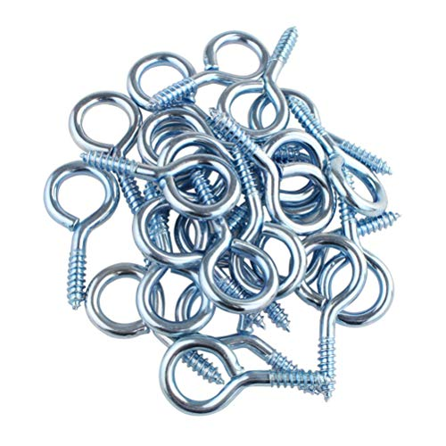 Wobe 50Pack of Eye Screws 1-5/8 Inch Eye Shape Screw Hooks Thread Self-Tapping Hanging Hooks Eyebolt Ring (1-5/8
