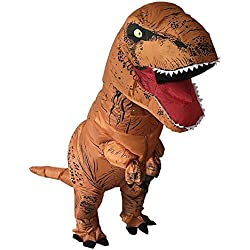 HEYMA T-rex costume Inflatable Dinosaur Costume Suit Halloween Adult inflatable Costume (Light Brown)