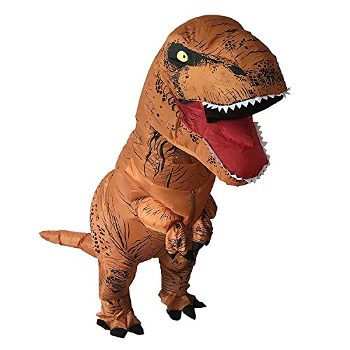 [HEYMA T-rex costume Inflatable Dinosaur Costume Suit Halloween Adult inflatable Costume (Light Brown)] (Halloween Costumes Last Minute Adults)