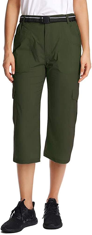 Toomett Capris for Women Lightweight Stretch Quick Dry Hiking Relaxed Drawstring Long Shorts