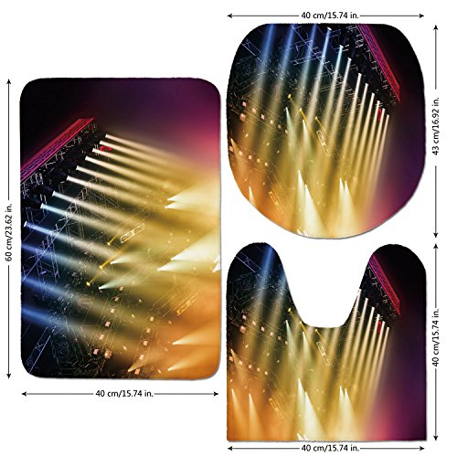 3 Piece Bathroom Mat Set,Musical Theatre Home Decor,Colorful Rays Concert Dance Music Staging Technology Smoky Night,Multicolor,Bath Mat,Bathroom Carpet Rug,Non-Slip by iPrint
