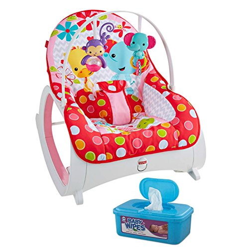Fisher-Price Infant-to-Toddler Rocker in Flowery Chevron Plus BONUS Hypoallergenic, Unscented Baby Wipes, 128 Count (Fisher Price Apptivity Gym)