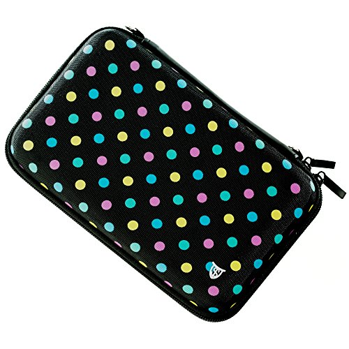 Nintendo Ds Lite Bags - Technoskin - Compact Travel Carrying Case for NEW 3DS or NEW 3DS XL - Polka Dot - 8 Game Holders - Hard Cover - Mesh Accessory Pouch - Carrying Strap