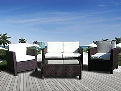 The Miami Beach Collection - 4 Pc Outdoor Rattan Wicker Sofa Sectional Patio Furniture Set. Choice of Set & Cushion Color