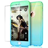 "iPhone 6S Plus Case,iPhone 6 Plus Case,ikasus [Tempered Glass Protector] Luxury Gradient Color Ultra-thin Shockproof PC Anti-Slick Full Body Protective Bumper Case for iPhone 6S/6 Plus 5.5"",Green Blue"
