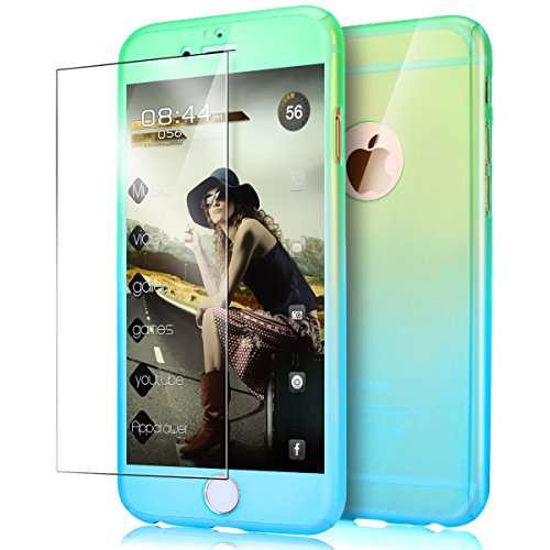 "Price comparison product image iPhone 6S Case,iPhone 6 Case,ikasus [Tempered Glass Protector] Luxury Gradient Color Ultra-thin Shockproof Armor PC Anti-Slick Full Body Protective Bumper Case Cover for iPhone 6S/6 4.7"",Green Blue"