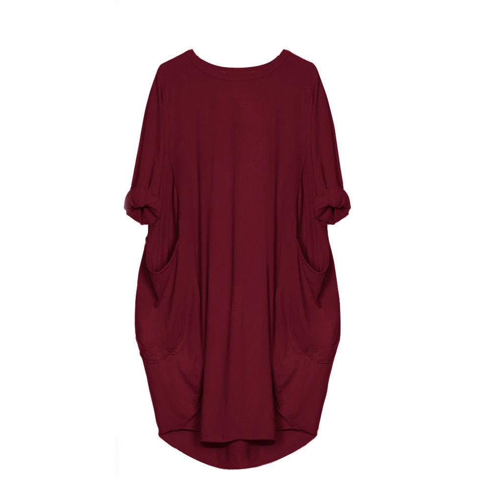 Mlide Women Casual Loose V Neck Fit Half Sleeve Short Swing Tunic Shift Dress Pocket Crew Neck Long Top Dress,Wine XL