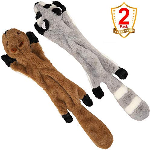 (Dog Chew Toys for Large Dogs, Stuffless Dog Chew Toys with Stuffed Free Plush Squeaky Squirrel and Raccoon Animal Dog Toys)