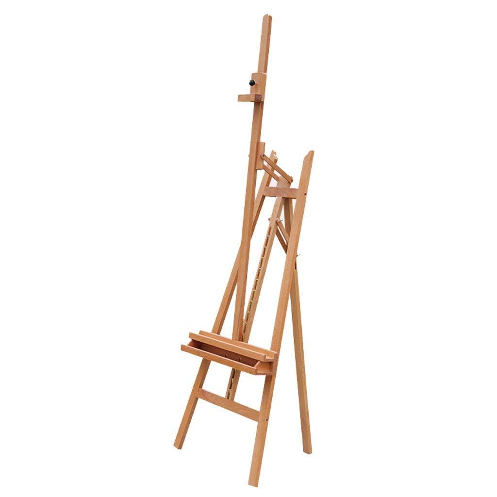 170cmソリッドウッドアートイーゼル、リアサポートイーゼル、折りたたみ式スケッチイーゼル、広告スペースディスプレイスタンド付き前方に傾くリフト (色 : 木の色)  木の色 B07MY138R5