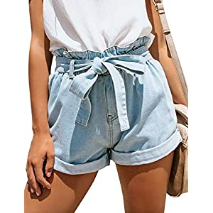 Women's High Waisted Cuff Wide Leg Denim Jean Shorts