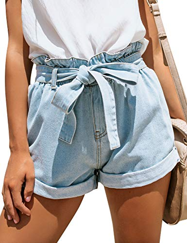 GRAPENT Women's High Waisted Removable Belt Sewn Cuff Wide Leg Denim Jean Shorts Light Blue Size M