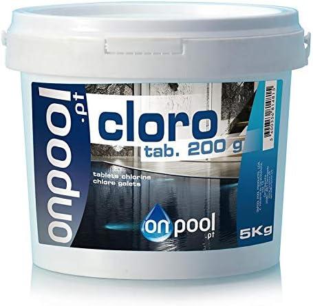 Onpool - Cloro Tabletas 200 g 5 Kg para Piscina - para Uso como desinfectante en la Piscina - disolución Lenta y Resistente a los Rayos UV