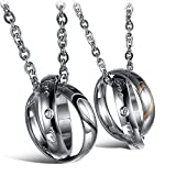 MMTTAO His & Hers Matching Set Titanium Stainless Steel Couple Pendant Necklace for Men Women Love Cubic Zircinia CZ Charms Pendant