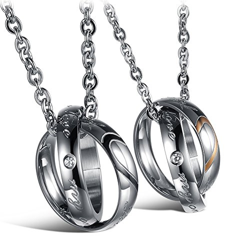 - MMTTAO His & Hers Matching Set Titanium Stainless Steel Couple Pendant Necklace for Men Women Love Cubic Zircinia CZ Charms Pendant Promise Friendship Jewelry, Real Love My Only Love, 2Pcs