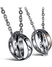 MMTTAO 2Pcs/Set His & Hers Matching Set Titanium Stainless Steel Couple Pendant Necklace for Men Women Lovers Cubic Zircinia CZ Charms Pendant Friendship Relationship Promise Love Fashion Jewelry Gift