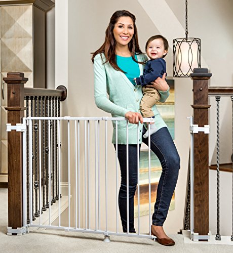 Regalo Top Of Stairs Expandable Metal Gate, With Mounting Kit, White - Custom Frame Metal Ladder