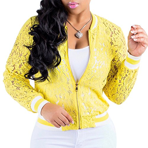 Womens See Through Lace Patchwork Long Sleeve Zip up Bomber Jacket Short Coat Tops Yellow XL