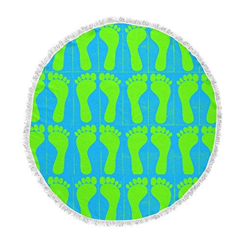 KESS InHouse Sreetama Ray Footprints Green Blue Aqua Round Beach Towel Blanket