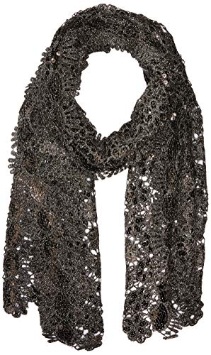 Betsey Johnson Women's Sequin Scallped Edge Crochet Evening Wrap, Black, one Size - Betsey Evening Johnson