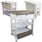 Monsieur Bébé ® Table à langer avec baignoire et rangements - 3 coloris - Norme EN 12221 - Petite stars (blanc)