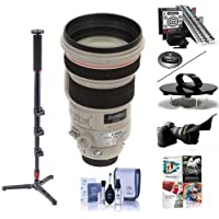 Canon EF 200mm f/2L IS USM IS AF Telephoto Lens USA - Bundle with Flex Lens Shade, Cleaning Kit, Don Zeck 3 Lens Cap, LensAlign MkII Focus Calibration System, 4-Section Monopod, Pro Software Package
