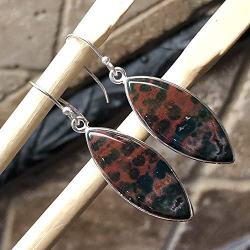 Natural Bloodstone/Heliotrope 925 Solid Sterling Silver Marquise Dangle Earrings 45mm Long