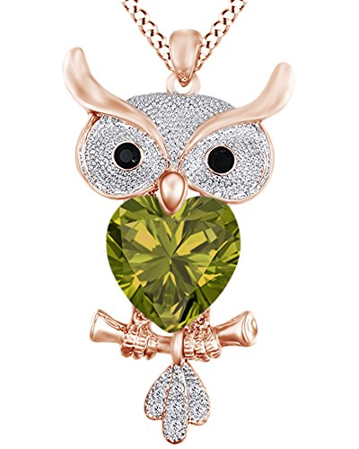 AFFY Heart Shape Simulated Peridot & Round Cut White & Black CZ Owl Pendant Necklace 14K Rose Gold Over Sterling Silver ()