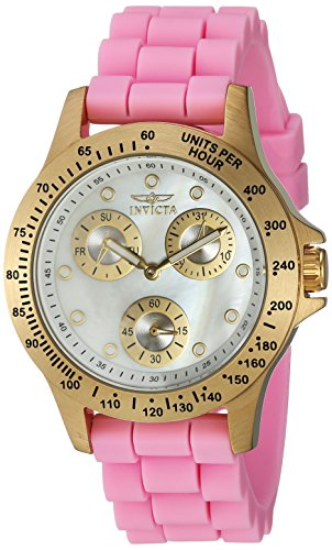 Invicta Women's 'Speedway' Quartz Stainless Steel and Silicone Casual Watch, Color:Pink (Model: 21982)