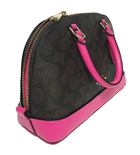 Handbag Shoulder Bright Shoulder Fushia Satchel Women��s Brown Inclined Coach Purse Mini Sierra T7Zqff