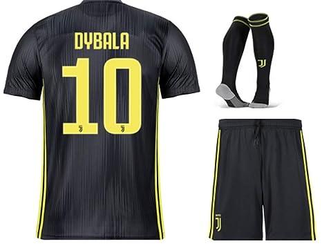 4969bc901dc ZZXYSY Dybala  10 Juventus Kids Youths Away Soccer Jersey Short Colour  Black (