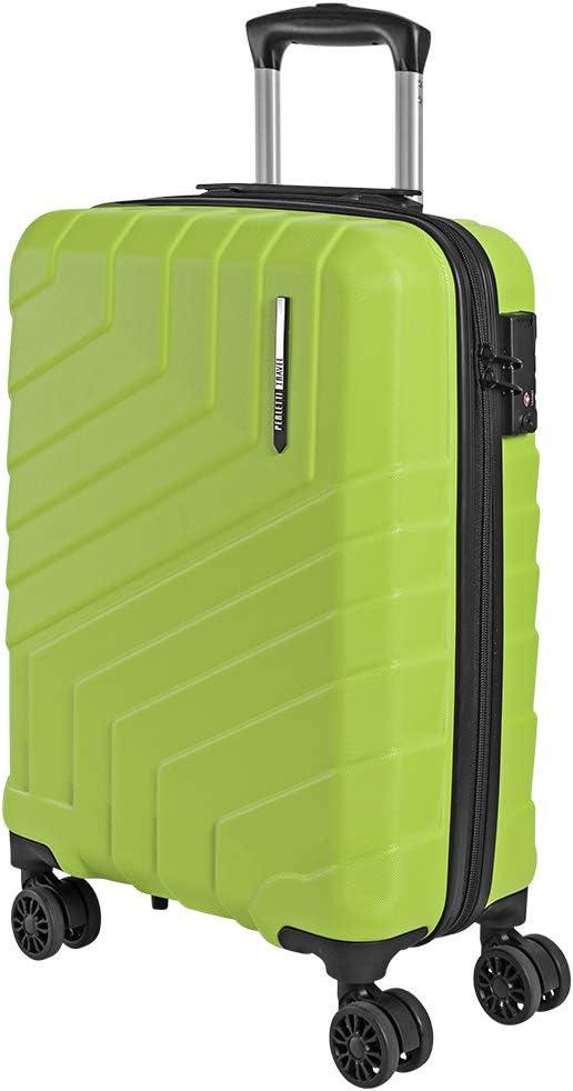 Maleta Mano Rigida - Aprobada Ryanair Easyjet 55x40x20 cm 44 litros - Equipaje Cabina Ligero ABS - Trolley Viaje Cerradura TSA y 4 Ruedas Dobles Multidireccionales - Perletti Travel (Verde Limón, S)