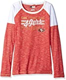 NFL San Francisco 49ers Women's Long Sleeve Raglan Open Neck Tee, Small, Red Staccato/White/Harvest Gold