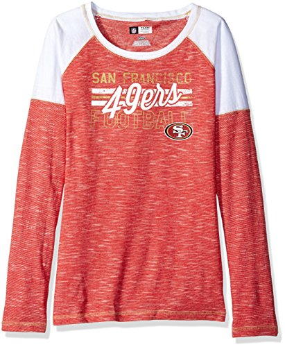 NFL San Francisco 49ers Women's Long Sleeve Raglan Open Neck Tee, X-Large, Red Staccato/White/Harvest Gold