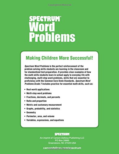 Counting Number worksheets grade 7 math probability worksheets : Amazon.com: Word Problems, Grade 7 (Spectrum) (9781624427336 ...