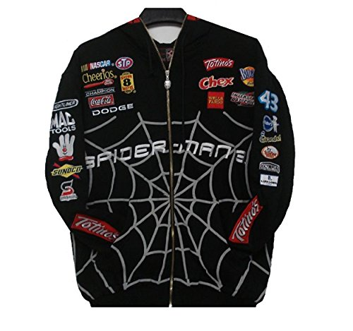 J.H. Design Nascar Cheerios Spiderman Zipper Hoodie Embroidered Cotton Medium Black