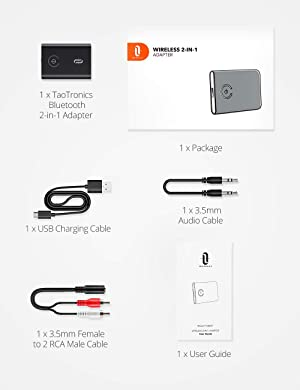 Bluetooth 4.1 Transmitter / Receiver, TaoTronics 2-in-1 Wireless 3.5mm Adapter (aptX Low Latency, 2 Devices Simultaneously, For Home Sound System)