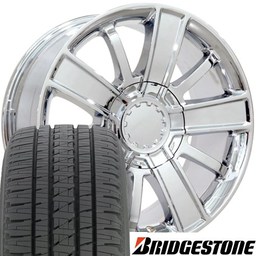 20x9 Wheels and Tires Fit GM Trucks - Chevy Silverado Style Chrome Rims w/Bridgestone Tires, Hollander 5653 - SET