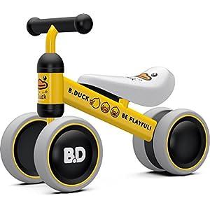 Ancaixin Children Balance Bikes Baby Walker 6-24 Months No Foot Pedal Infant Four Wheels First Bike (Yellow Duck)