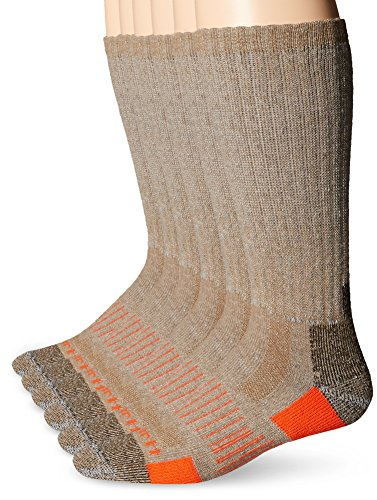 Carhartt Men's 6 Pack All-Terrain Boot Socks, Brown, Shoe Size: 6-12
