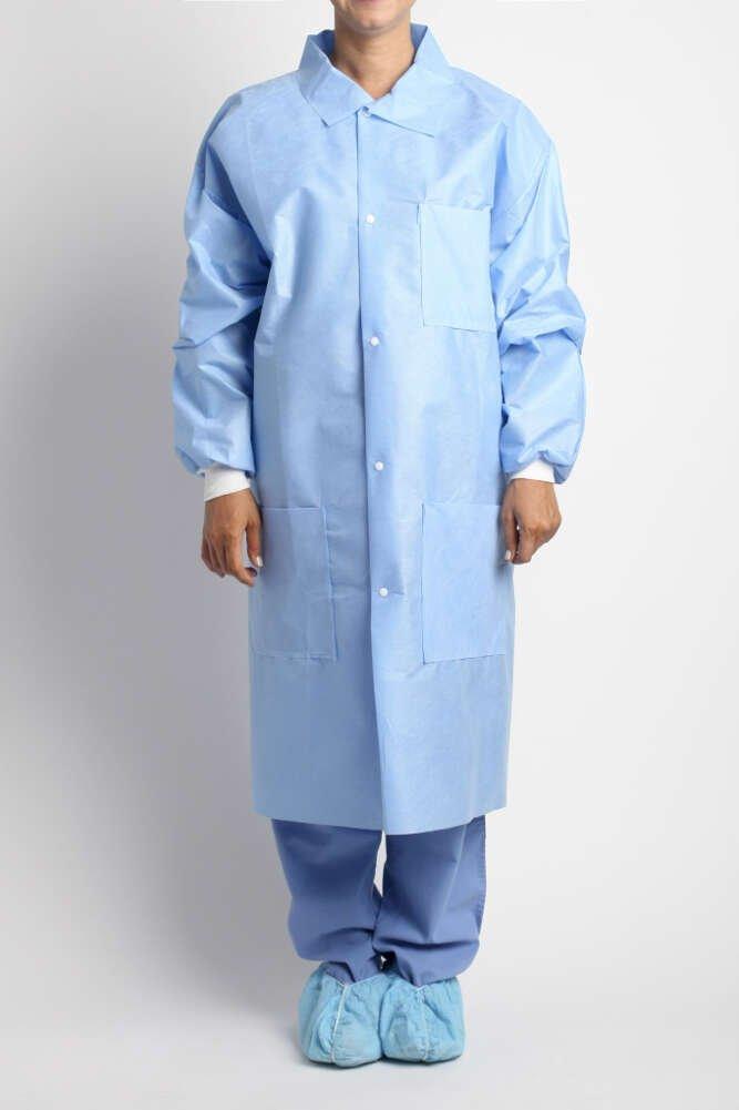 MediChoice Laboratory Coats, Premium, Disposable, Anti-Static, Three-Pocket, Knit Cuff, 5-Snap, Spunbond Meltblown Spunbond, XL, Blue (Case of 25)