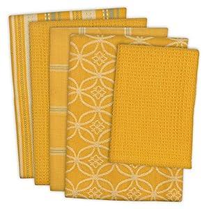 "DII 100% Cotton, Ultra Absorbent, Oversized, Washing, Drying, Basic Everyday Kitchen Dishtowel 18 x 28"" & Dishcloth 13 x 13"", Set of 5 - Mustard"