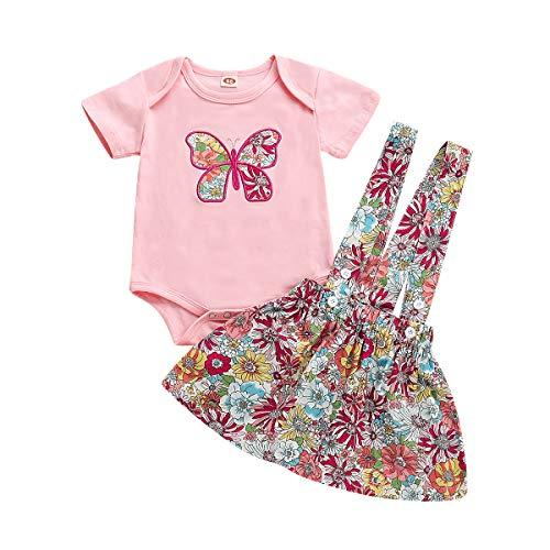 Baby Girl Clothes Dress Infant Summer Outfits 2PCS Butterfly Short Sleeve Pink Romper+ Floral Suspender Skirt Overalls (A, 12-18months)]()