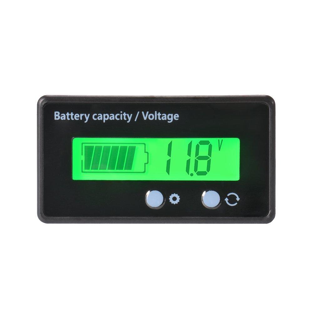 Digital LCD Batterie Kapazit/ät Spannungspr/üfer Monitor Wasserdichte Kapazit/ät 12//24//36 48V Spannungspr/üfer Spannungsmesser f/ür Fahrzeugbatterie 6-63V