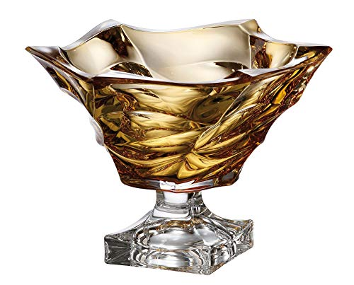 - Czech Bohemian Crystal Glass Footed Bowl-Vase 11.5