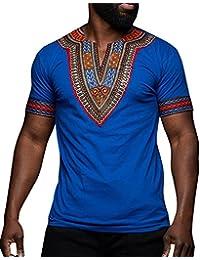 Men's African Print Dashiki T-Shirt Tops Blouse