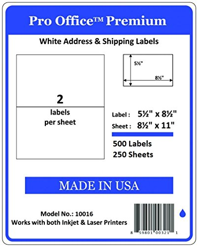 Pro Office Premium 500 Half Sheet Self Adhesive Shipping Labels for Laser Printers and Ink Jet Printers, White, Made in USA, 5.5 x 8.5 Inches, Pack of ()